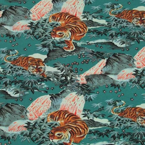 Fabric,Godmother,Tiger,Mountain,Viscose,Crepe,in,Teal,fabric godmother, tiger, mountain, viscose, crepe, teal, blue, dress making, sewing, emporia