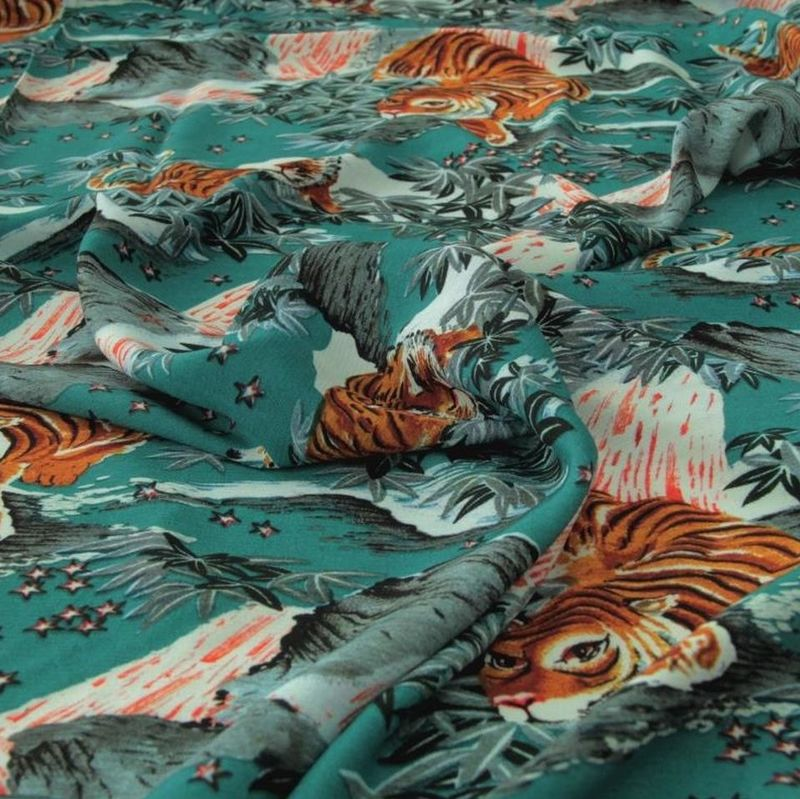 Fabric Godmother Tiger Mountain Viscose Crepe in Teal - product images  of