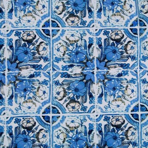Fabric,Godmother,Loseta,Tile,Print,Viscose,Crepe,in,Blue,and,White,fabric godmother, loseta, tile, print, viscose, crepe, white, blue, dress making, sewing, emporia