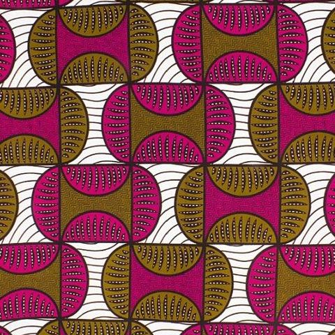 African,Wax,Semi,Circles,in,Pink,Brown,and,White,african wax, dutch, wax, cotton, waxed, fabric, pink, brown, white, black, emporia