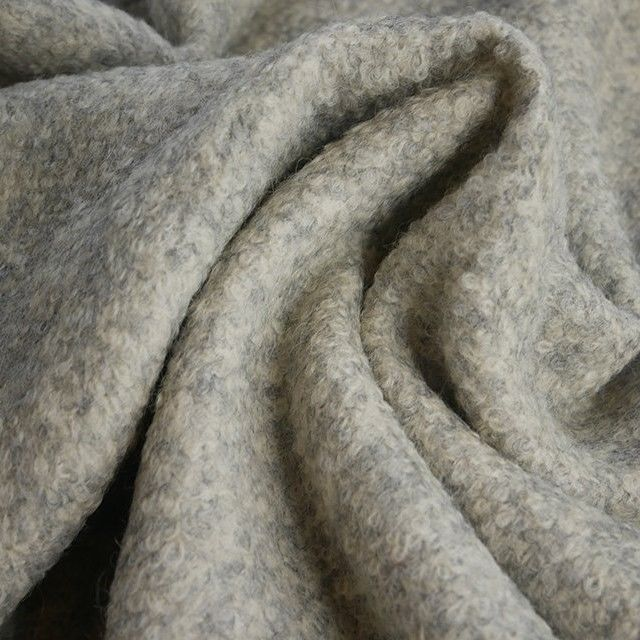 Plain Boiled Wool Blend in Silver Grey - product images