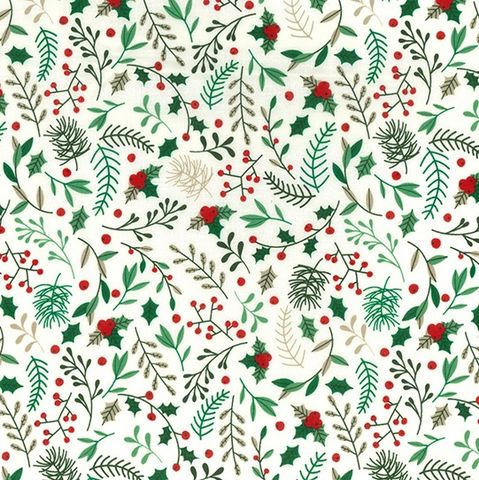 Rose,and,Hubble,Holly,Leaves,in,Green,on,White,rose, hubble, christmas, ivy, holly, green, red, white, cotton, festive, fabric, emporia