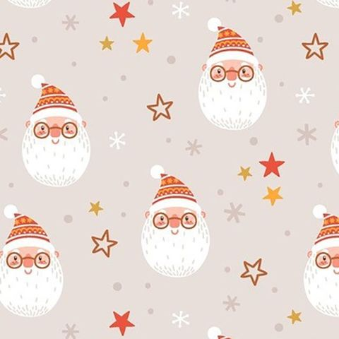 Santa,Faces,and,Stars,in,White,Red,red, santa, face, white, cotton, fabric, christmas, winter, sewing