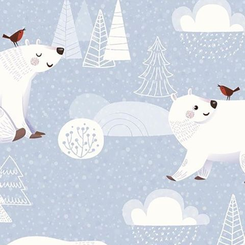 Polar,Bears,and,Robins,on,Blue,White,polar bears, robins, blue, white, cotton, fabric, christmas, winter, sewing