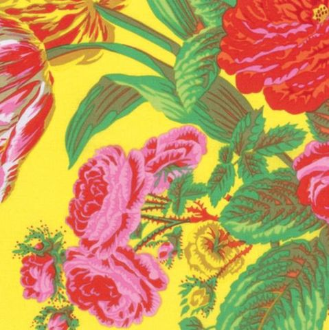 Summer,Bouquet,by,Philip,Jacobs,for,Kaffe,Fassett,in,Yellow,summer, bouquet, kaffe fassett, philip jacobs, collective, fabric, cotton, yellow, emporia, free spirit,