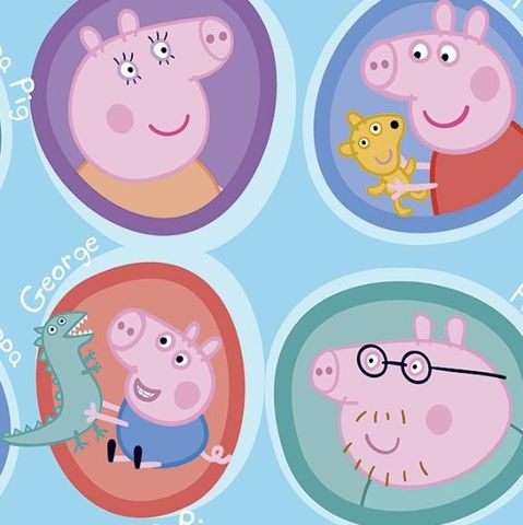 Peppa,Pig,and,Family,on,Blue,peppa pig, family, kids, daddy,  pig, george, fabric, blue, cotton, quilt, emporia