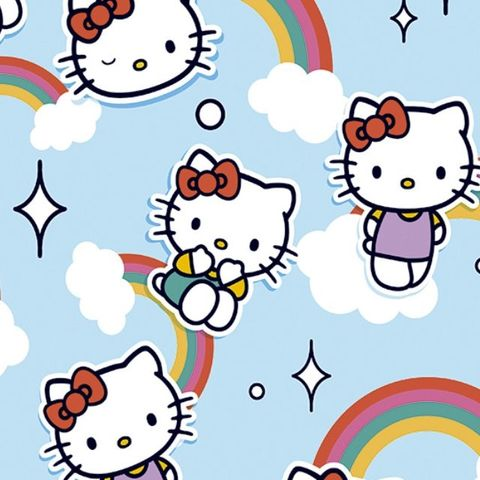 Hello,Kitty,Rainbows,in,Blue,hello kitty, rainbows, blue, cat, cotton, fabric, emporia