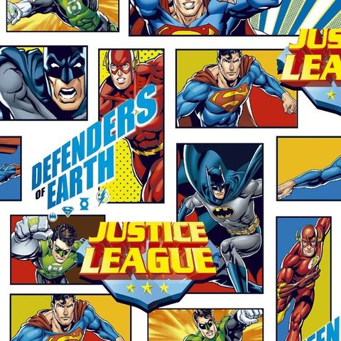 Justice,League,Defenders,of,Earth,in,Red,Yellow,and,Blue,justice league, print, red, yellow, blue, superman, flash, green lantern, batman, sewing, emporia