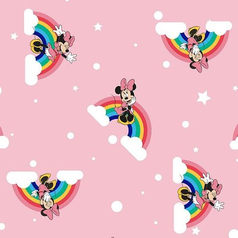 Minnie,Mouse,Rainbows,in,Pink,minnie mouse, rainbows, pink, mouse, cotton, disney, fabric, emporia