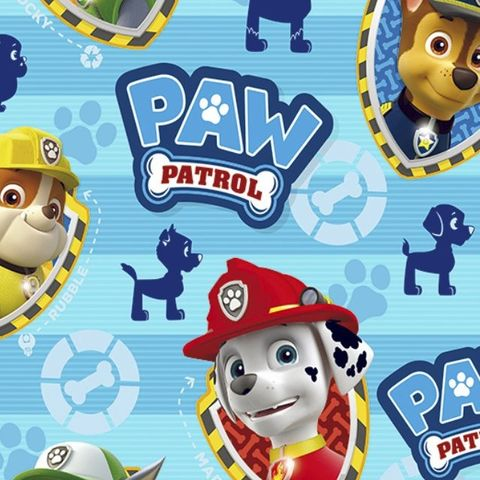 Paw,Patrol,Pups,Badges,Print,in,Blue,Paw Patrol, blue, dogs, marshall, chase, zoomer, print, cotton, kids, emporia