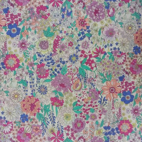 Memoire,a,Paris,in,Purple,and,Peach,Pink,floral, print, memoire a paris, dressmaking, sewing, white, purple, blue, emporia