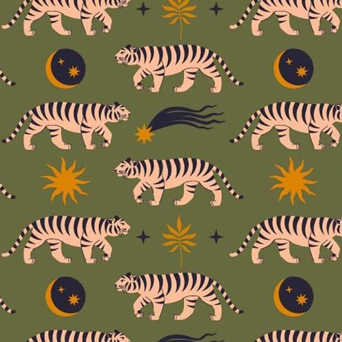 Moon,and,Shooting,Stars,Tigers,in,Green,Pink,moon, stars, tigers, green, pink, yellow, black, sewing, fabric, emporia