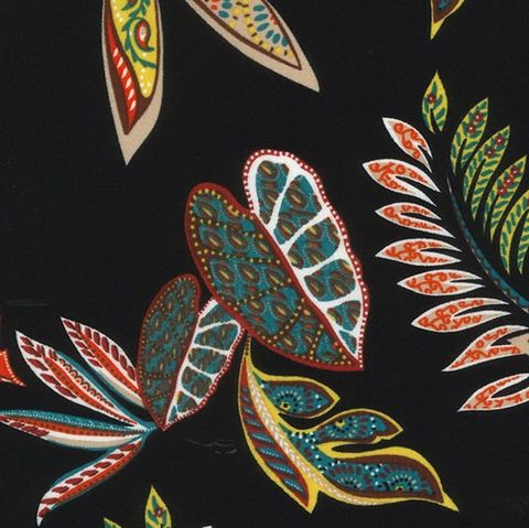 Leaf,Print,Viscose,Blend,in,Red,and,Green,Yellow,on,Black,leaf, print, viscose, poly, red, green, cream, black, fabric, emporia