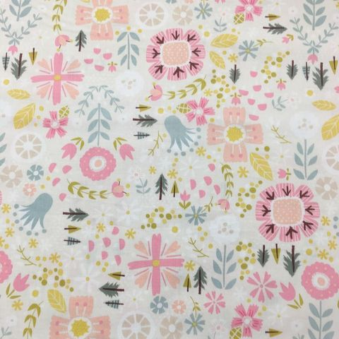 Goldilocks,Flowers,and,Trees,in,Beige,Pink,from,Riley,Blake,goldilocks, flowers, trees, beige, pink, riley blake, cotton, emporia