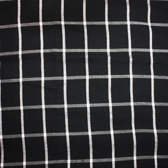 Check Viscose Crepe in Black and White - product images