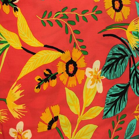 Summer,Floral,in,Yellow,and,Orange,on,Coral,Red,summer, floral, flowers, yellow, orange, coral, red, print, viscose, emporia