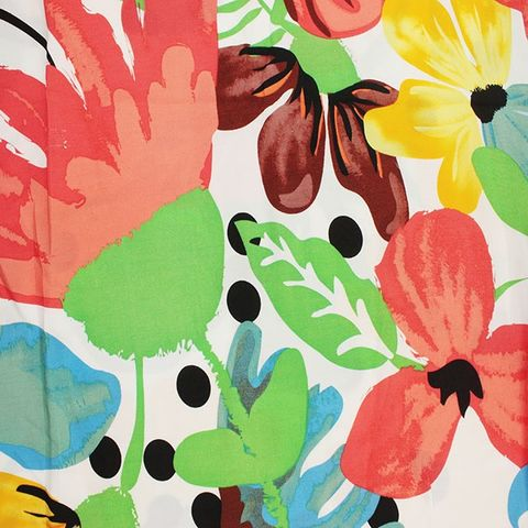 Large,Floral,Spot,in,Multi,on,White,large, floral, spot, multi, coloured, white, blue, orange, yellow, brown, emporia