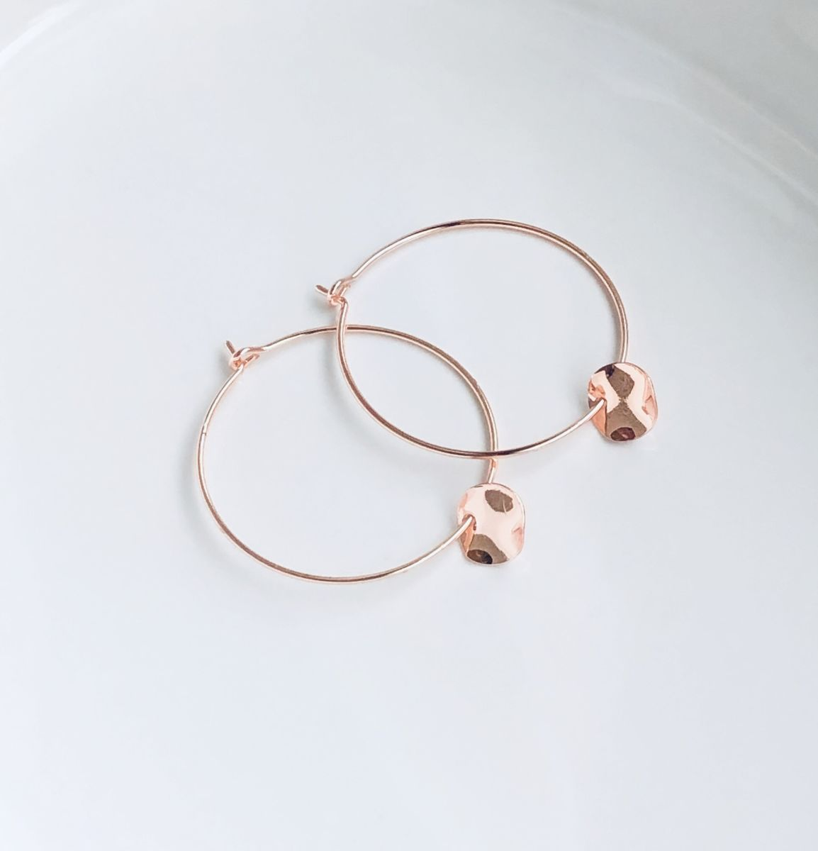 Rose Hammered Coin Hoops - product image