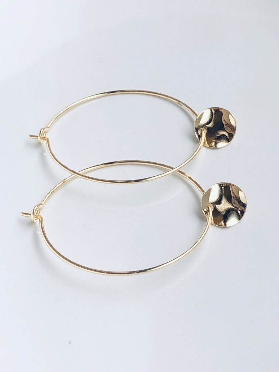 Gold Hammered Coin Hoops - product image