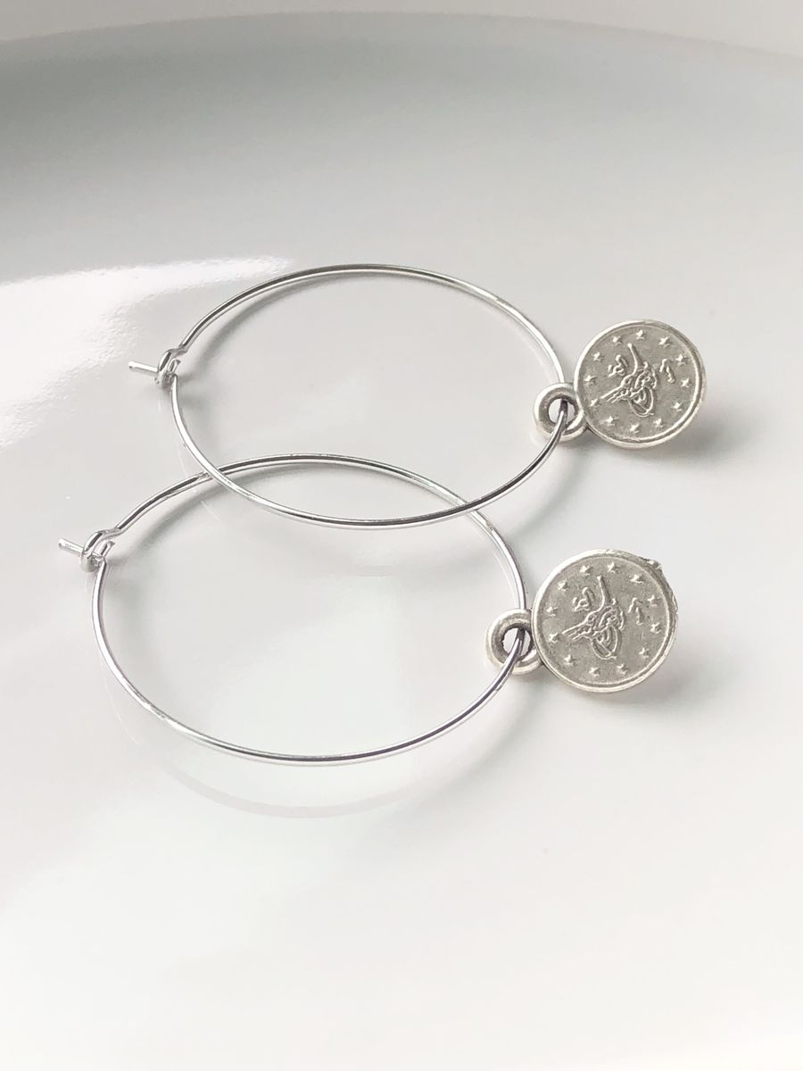 Silver Tiny Coin Hoops - product image