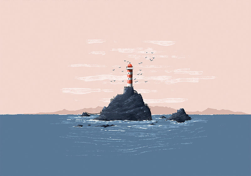 Red Lighthouse Print (30cm x 21cm) - product image