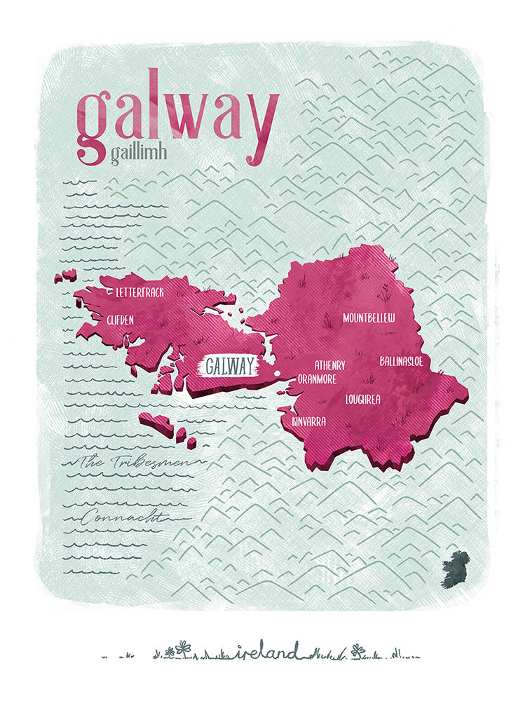 Irish County Galway Print (21cm x 30cm) - product image