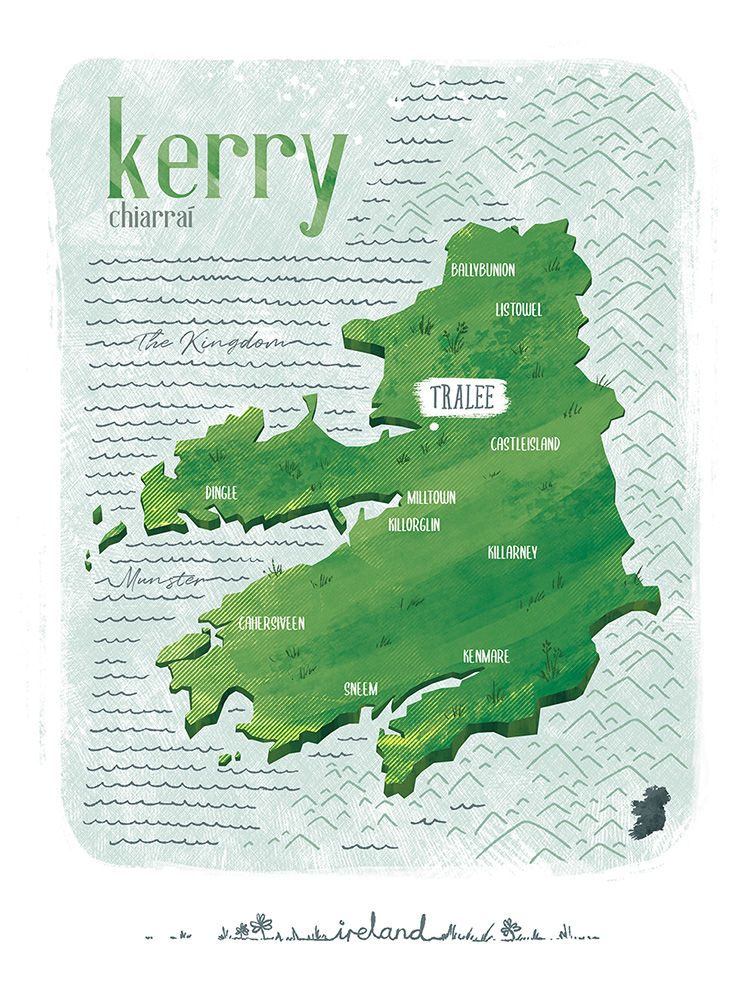 Irish County Kerry Print (21cm x 30cm) - product image
