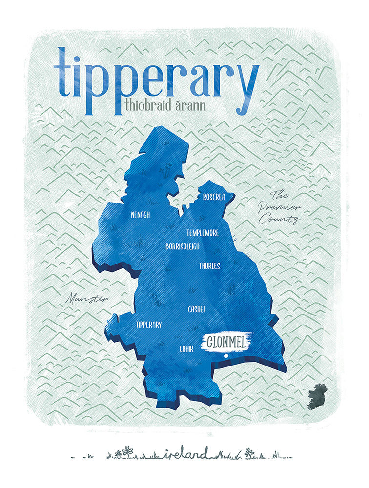 Irish County Tipperary Print (21cm x 30cm) - product image