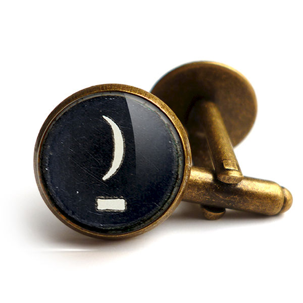 Crescent Moon Typewriter Key Cufflinks (DJ10) - product images  of