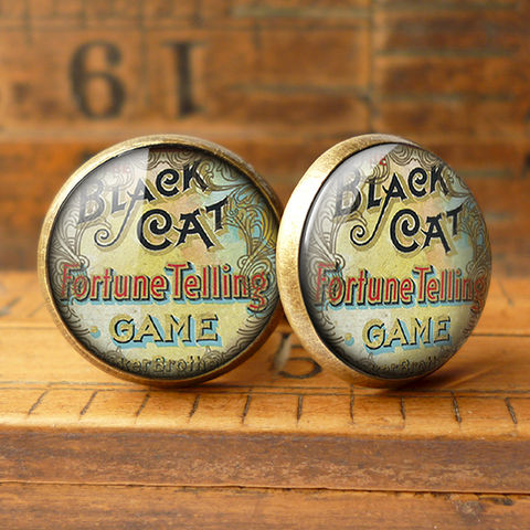 Black,Cat,Cufflinks,(DJ05),jewellery, jewelry, handmade, brass, cufflinks, vintage, glass, cabochon, steampunk, victorian, game, cat