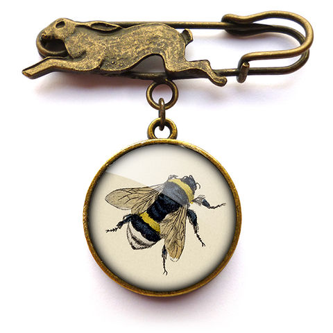 Vintage,Bee,Hare,Pin,Brooch,(ER04),jewellery, jewelry, handmade, brass, brooch, pin, rabbit, hare, vintage, bee, glass, cabochon, steampunk, victorian