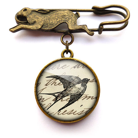 Vintage,Swallow,Hare,Pin,Brooch,(ER05),jewellery, jewelry, handmade, brass, brooch, pin, rabbit, hare, vintage, bird, swallow, text, script, glass, cabochon, steampunk, victorian
