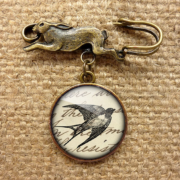 Vintage Swallow Hare Pin Brooch (ER05) - product images  of