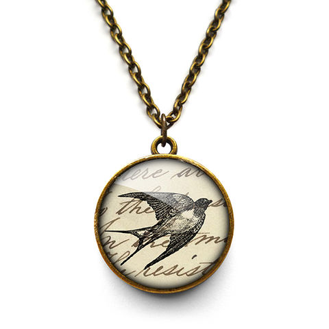 Vintage,Swallow,Necklace,(ER05),jewellery, jewelry, handmade, brass, necklace, vintage, bird, swallow, text, script, glass, cabochon, steampunk, victorian