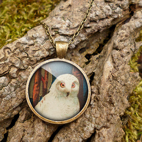 Snowy,Owl,Large,Necklace,(TB04),jewellery, jewelry, handmade, brass, necklace, vintage, bird, owl, glass, cabochon, steampunk, victorian
