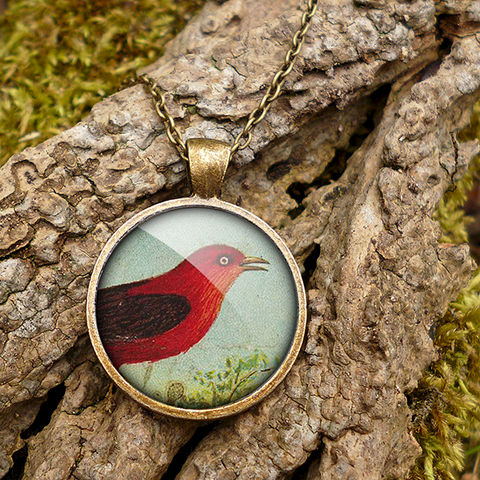 Red,Bird,Large,Necklace,(TB06),jewellery, jewelry, handmade, brass, necklace, vintage, bird, glass, cabochon, steampunk, victorian