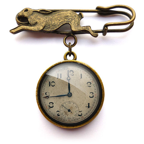 Vintage,Clock,Hare,Pin,Brooch,(ER06),jewellery, jewelry, handmade, brass, brooch, pin, rabbit, hare, vintage, clock, watch, glass, cabochon, steampunk, victorian