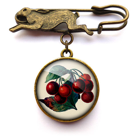 Vintage,Cherries,Hare,Pin,Brooch,(ER02),jewellery, jewelry, handmade, brass, brooch, pin, rabbit, hare, vintage, cherries, cherry, glass, cabochon, steampunk, victorian