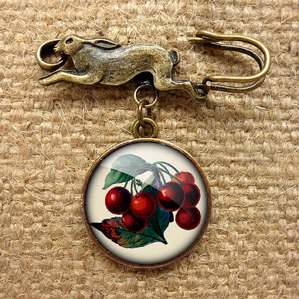 Vintage Cherries Hare Pin Brooch (ER02) - product images  of