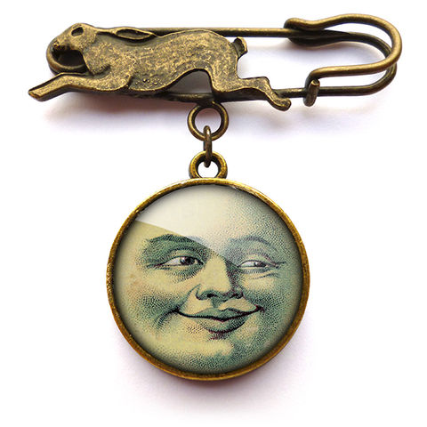 Vintage,Moon,Hare,Pin,Brooch,(ER01),jewellery, jewelry, handmade, brass, brooch, pin, rabbit, hare, vintage, face, moon, glass, cabochon, steampunk, victorian