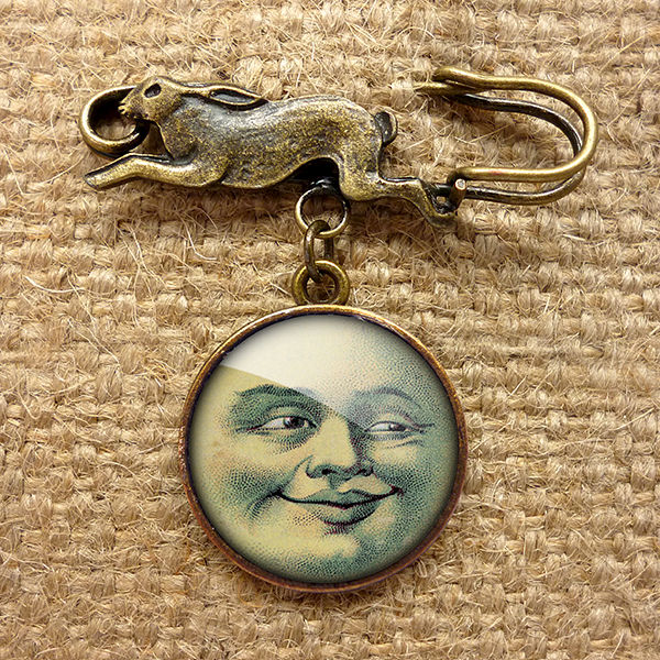 Vintage Moon Hare Pin Brooch (ER01) - product images  of