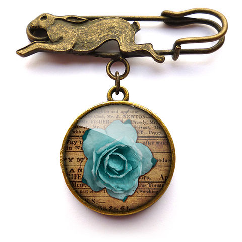 Blue,Rose,Hare,Pin,Brooch,(RR02),jewellery, jewelry, handmade, brass, brooch, pin, rabbit, hare, vintage, glass, cabochon, steampunk, victorian, rose, blue