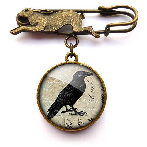 Raven,No.1,Hare,Pin,Brooch,(RR01),jewellery, jewelry, handmade, brass, brooch, pin, rabbit, hare, vintage, glass, cabochon, steampunk, victorian, raven