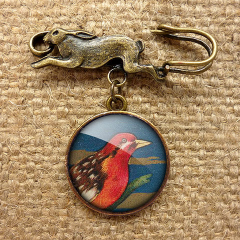 Crimson,Bird,Hare,Pin,Brooch,(TB01),jewellery, jewelry, handmade, brass, brooch, pin, rabbit, hare, vintage, glass, cabochon, steampunk, victorian, red, bird