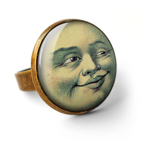 Vintage,Moon,Ring,(ER01),jewellery, jewelry, handmade, brass, ring, vintage, moon, face, astronomy, glass, cabochon, steampunk, victorian