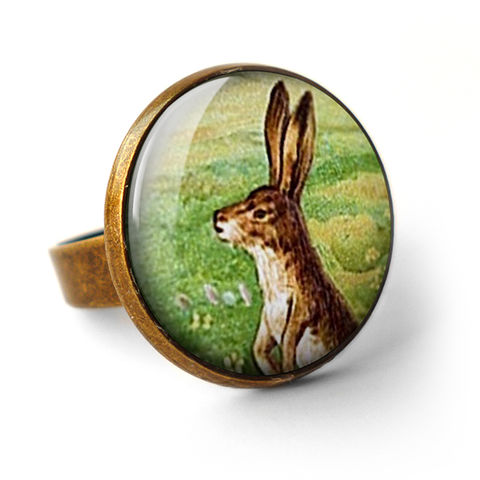 Vintage,Hare,Ring,(ER08),jewellery, jewelry, handmade, brass, ring, vintage, hare, rabbit, easter, bunny, glass, cabochon, steampunk, victorian