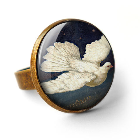Vintage,Dove,Ring,(ER09),jewellery, jewelry, handmade, brass, ring, vintage, dove, bird, flight, peace, glass, cabochon, steampunk, victorian