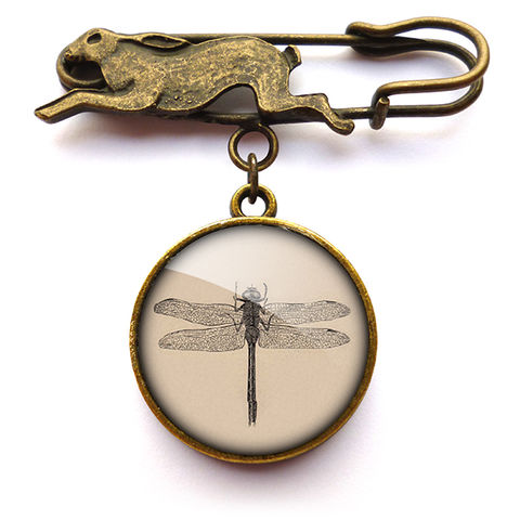 Vintage,Dragonfly,Hare,Pin,Brooch,(ER03),jewellery, jewelry, handmade, brass, brooch, pin, rabbit, hare, vintage, dragonfly, insect, nature, glass, cabochon, steampunk, victorian