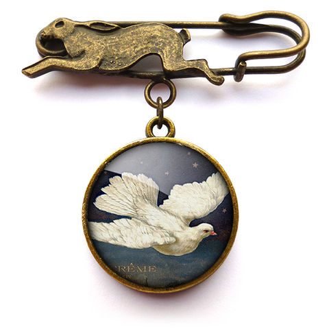 Vintage,Dove,Hare,Pin,Brooch,(ER09),jewellery, jewelry, handmade, brass, brooch, pin, rabbit, hare, vintage, dove, bird, flight, peace, glass, cabochon, steampunk, victorian