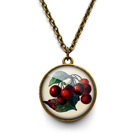 Vintage,Cherries,Necklace,(ER02),jewellery, jewelry, handmade, brass, necklace, vintage, cherries, cherry, fruit, glass, cabochon, steampunk, victorian